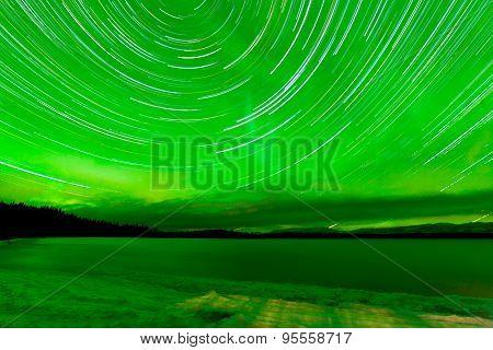 Startrails Aurora Borealis Frozen Lake Laberge
