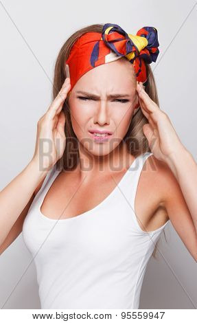 Closeup Of A Woman Having Headache