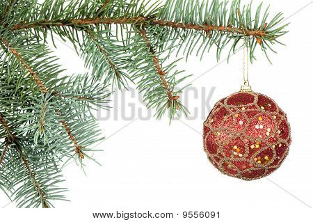 fir tree and red sphere