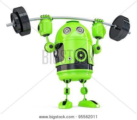 Powerfull Green Robot. Technology concept. 3D illustration. Isolated. Contains clipping path