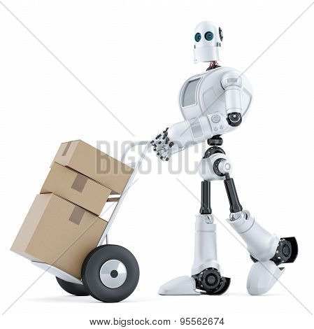 Delivery Man With Handtruck. Isolated. Contains Clipping Path