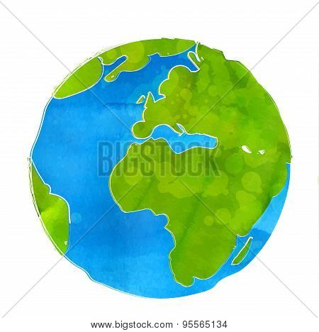 Artistic vector illustration of Earth globe isolated on white background. Watercolor style with swas
