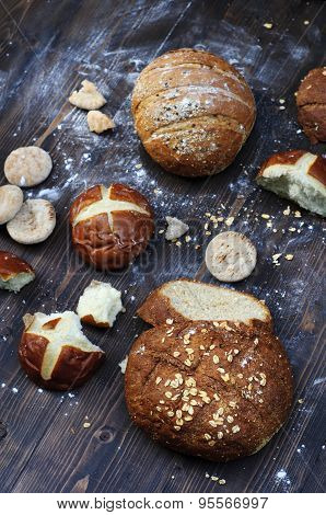 Bakery product assortment in a rustic style vertical