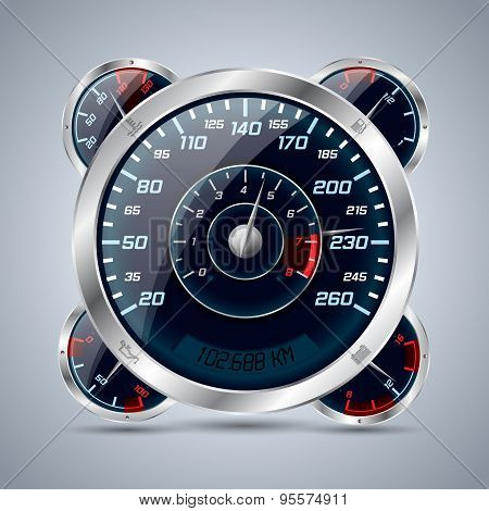 Speedometer With Rev Counter And Other Instruments