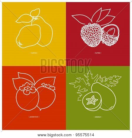 Quince,  Lichee, Persimmon, Papaya