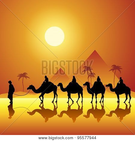 Caravan with camels in desert with pyramids on background. Vector illustration poster