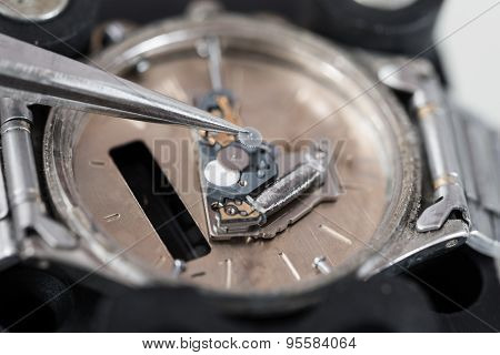 Tweezers Repairing Wrist Watch