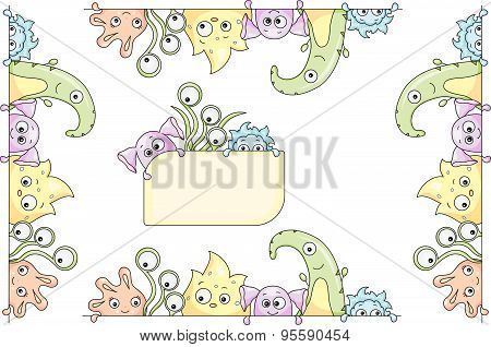 Frame With Cute Colorful Monsters And Aliens
