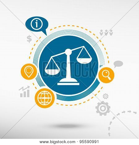 Scales Of Justice Sign And Creative Design Elements.