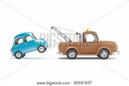 Tow Truck And Car Side View
