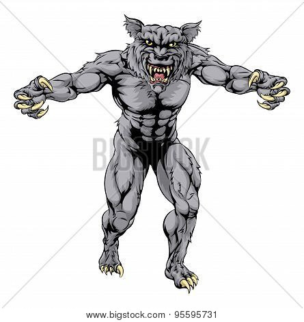 Werewolf Wolf Scary Sports Mascot