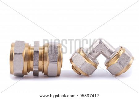 Plumbing fittings close-up isolation on a white background. poster
