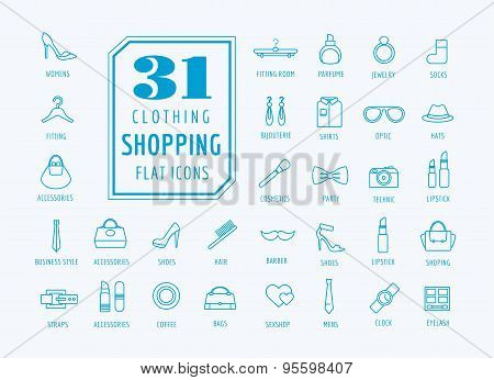 Shopping vector icons set. E-commerce symbols. Cloth, shirt, watch. Stocks design elements.