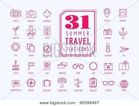 Travel vector icons set. Sea, travel and holiday symbols. Stocks design elements.