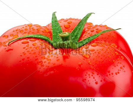 Top Fresh Tomato Close-up And Drops Of Water Isolated On White Background