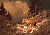 image from an original 17x24 painting of grizzly bear in a rocky mountain stream. / sw-010 poster