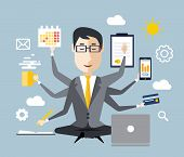 Businessman with multitasking and multi skill. Keep calm. Business concept. Flat design poster