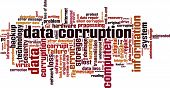 Data corruption word cloud concept. Vector illustration poster