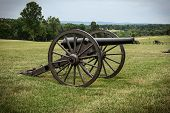 Cannon from the American Civil War on the battlefield. poster