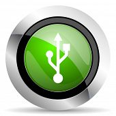 usb icon, green button, flash memory sign  poster