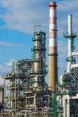 Refining plant industrial background poster