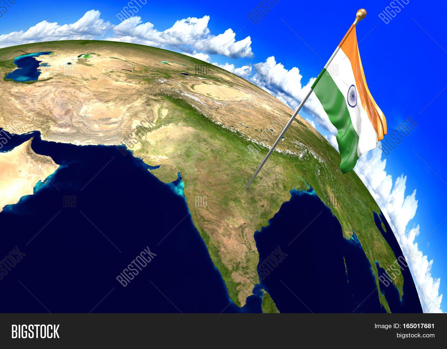 India national flag marking country image photo bigstock india national flag marking the country location on world map 3d rendering parts of gumiabroncs Images