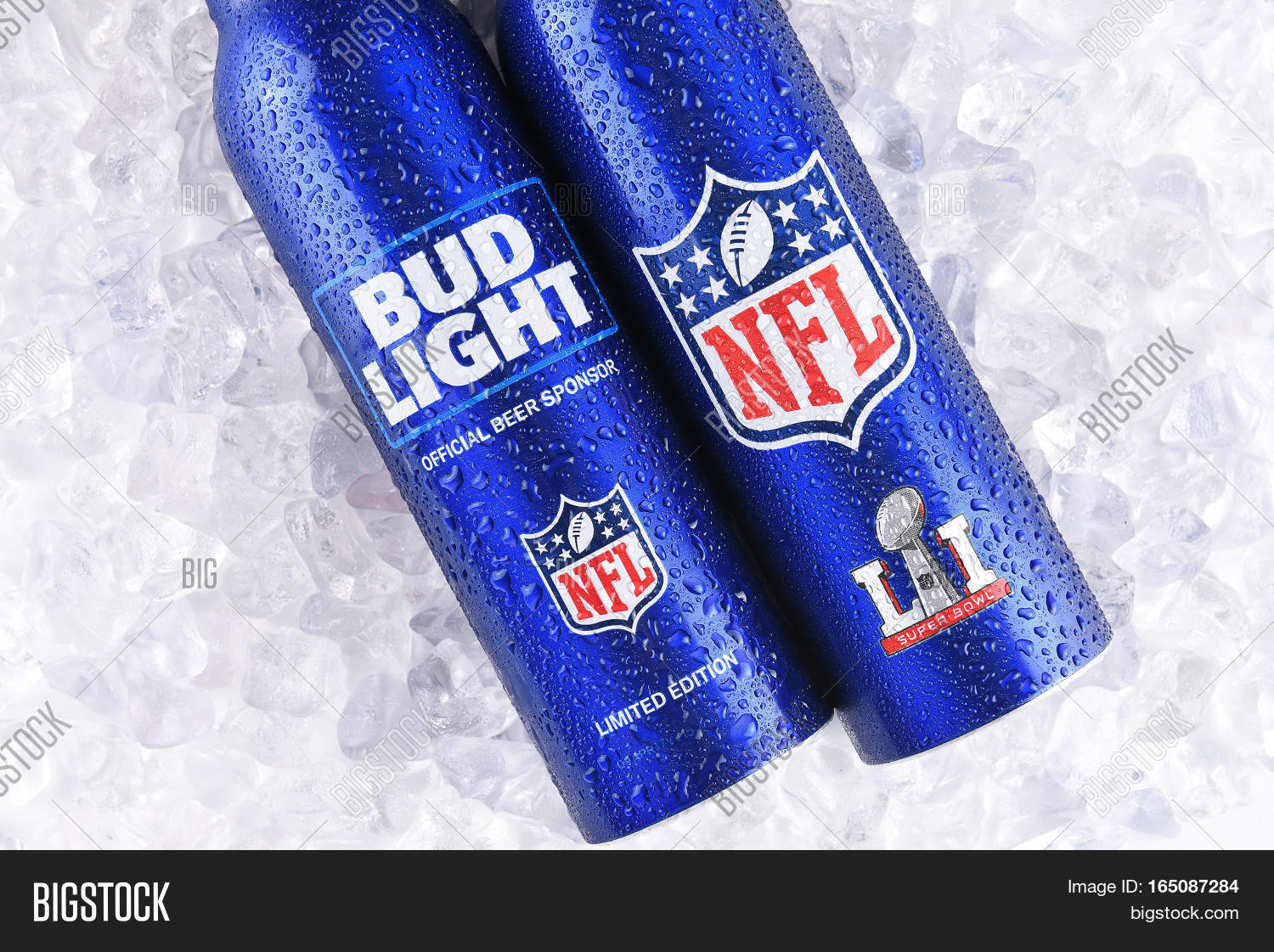 IRVINE CALIFORNIA   JANUARY 13 2017: Bud Light Aluminum Bottles In Ice. The  Resealable