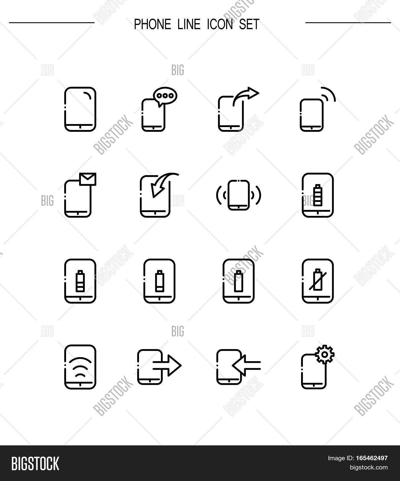 Phone Flat Icon Set Image Photo Free Trial Bigstock