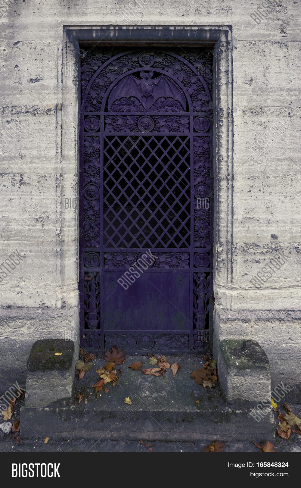 purple iron door with a bat - the closed entrance to an ancient crypt / tomb & Purple Iron Door Bat - Closed Image \u0026 Photo   Bigstock
