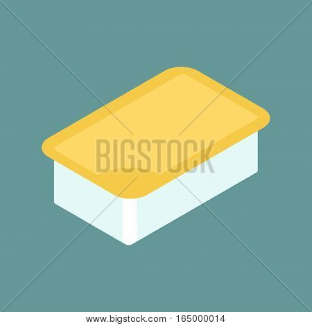 Mustard Dip Pack  Isolated. Sauce For Fast Food On White Background