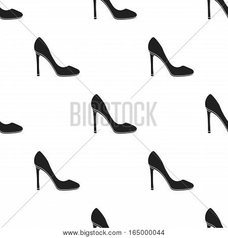 Stiletto icon in  black style isolated on white background. Shoes pattern vector illustration.