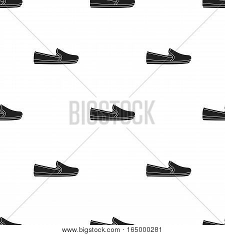 Moccasin icon in  black style isolated on white background. Shoes pattern vector illustration.