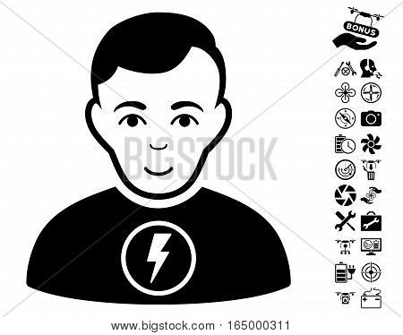 Power Man pictograph with bonus drone tools design elements. Vector illustration style is flat iconic black symbols on white background.