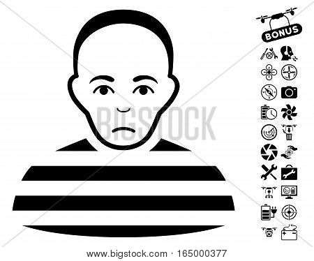 Prisoner icon with bonus quadrocopter tools clip art. Vector illustration style is flat iconic black symbols on white background.