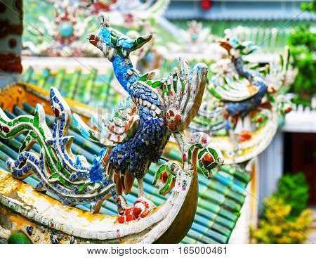 Traditional Colorful Mosaic Roof Detail At The Linh Ung Pagoda