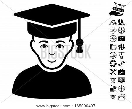 Professor pictograph with bonus drone tools clip art. Vector illustration style is flat iconic black symbols on white background.