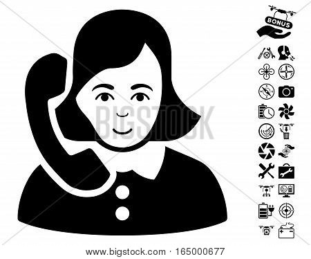 Receptionist pictograph with bonus aircopter service clip art. Vector illustration style is flat iconic black symbols on white background.