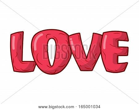 Love Lettering Isolated Emblem. Illustration For Valentines Day