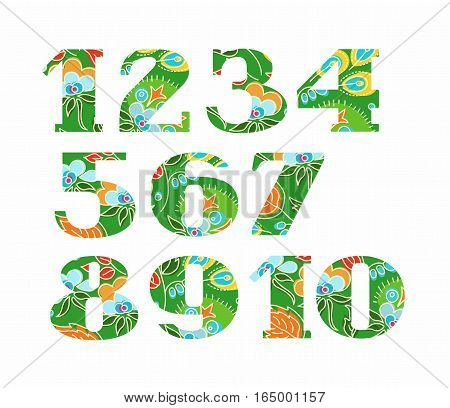 Figures, floral decor, summer, green, vector. Colored, vector letters with serifs. Blue flowers and yellow berries and seeds on a green background.