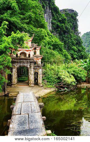 Main Gate To The Bich Dong Pagoda At Ninh Binh Province, Vietnam