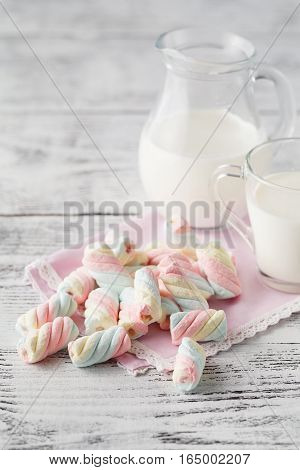 Closeup Of American Twisted Marshmallow With Milk