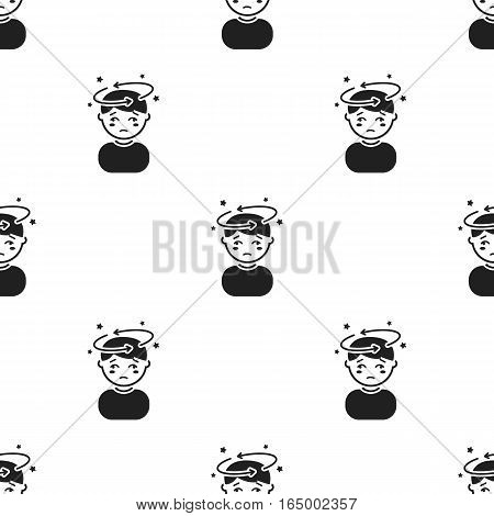Dizziness icon black. Single sick icon from the big ill, disease black stock vector - stock vector