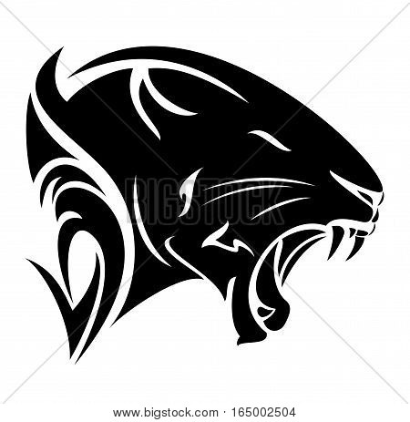 black panther profile head - roaring big cat vector design