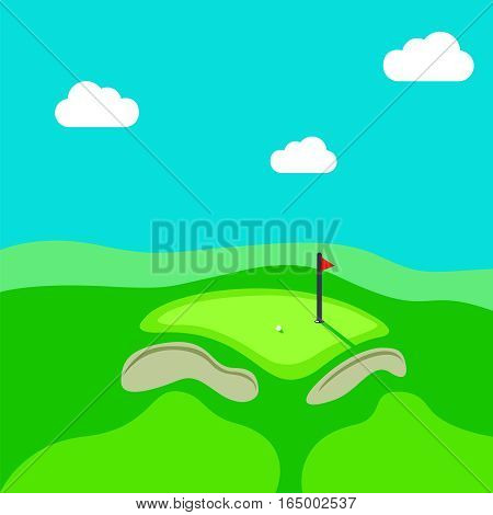 Golf hole vector green tee background illustration with flag.