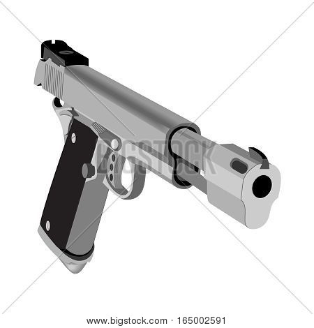 Realistic hand gun isolated on white background. Vector illustration