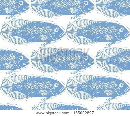 Vector freshwater fish endless pattern nature and marine theme seamless tiling. Seafood zoology idea background.