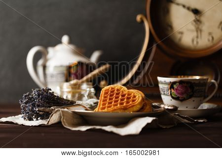 Relax tea drink with vienna wafers and tea