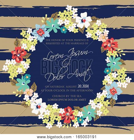 Invitation or announcement card with floral wreath on stripe background. Can be used as greeting card, birthday card or wedding invitation