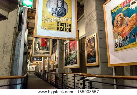 Turin Italy - January 01 2016: interior view with detail in National Museum of Cinema in Turin Italy. The Museum is one of the most important of its kind in the world.