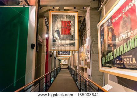 Turin, Italy - January 01, 2016: interior view with posters of famous movies in National Museum of Cinema in Turin Italy. The Museum is one of the most important of its kind in the world.